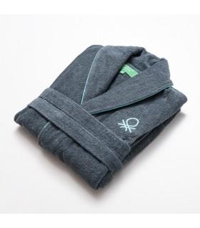 Casa Benetton Albornoz talla M/L 100% Algodón, suavidad y durabilidad excelente. Diseño en color gris oscuro
